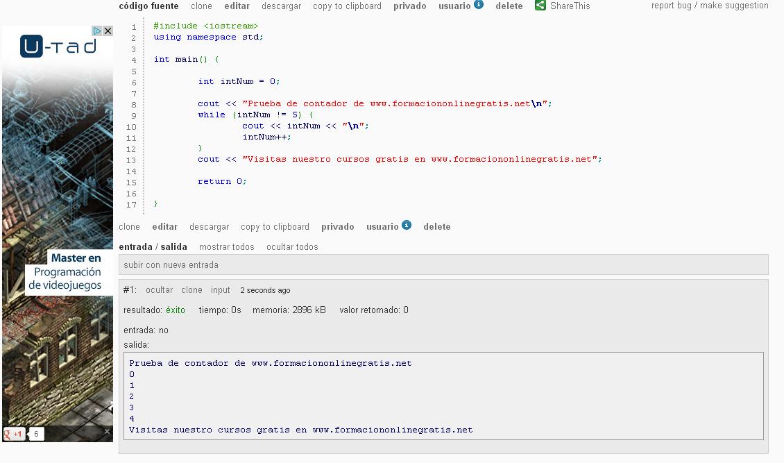 Compilador y depurador online