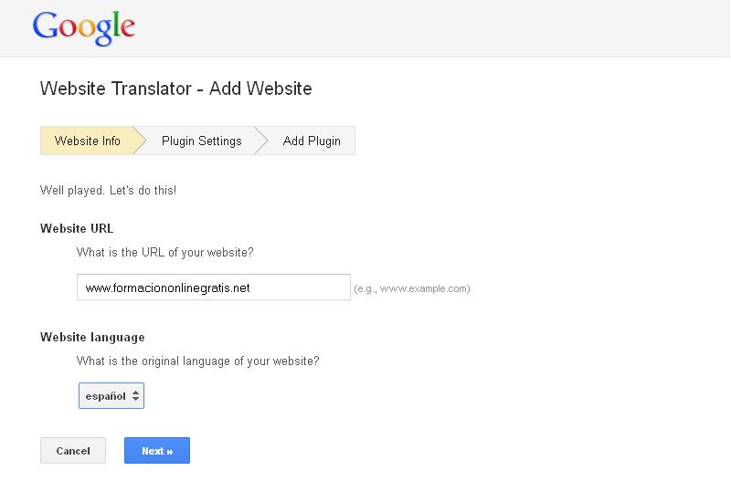 Como poner Google Translation en mi web o blog